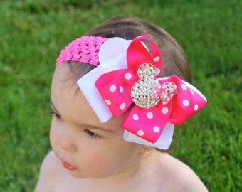 Minnie Mouse Headband - Minnie Mouse Bow- Minnie Mouse Party