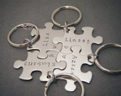 Puzzle Piece Keychain Set, Family Keychain Set, Bridesmaids Gifts, Name Keychains, Set of 4 keychains, Valentines Gift