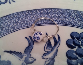Blue Willow Ring Mother of Pearl Jewelry