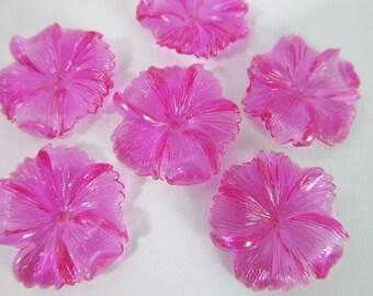 20 Vintage 18mm Transparent Fuchsia Acrylic Flower Beads Bd1434