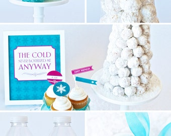 COMBO PACK of Frozen inspired Birthday Party Decor - Instant Downloads