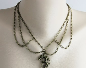 Khaleesi - Earthy Neutral Antique Brass Dragon Pendant Chain Necklace - Inspired by the Dany the Mother of Dragons