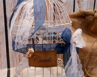 Large Round White Wedding Birdcage Card Holder / Wedding Card Box / Burlap and Lace Card Holder / Wedding Birdcage