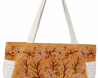 Leather Hand Bag with beautiful hand embroidery work from India.