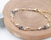 Blue Sapphire Bracelet, Freshwater Pearl Bracelet, Something Blue, Weddings, Bridal Jewelry, Bridesmaid Gift, Dainty and Feminine