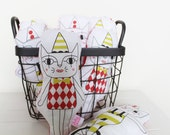 Circus cat softie or rattle personalised available