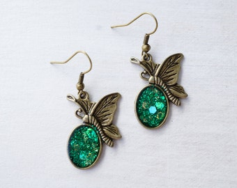 Green Glitter Butterfly Earrings