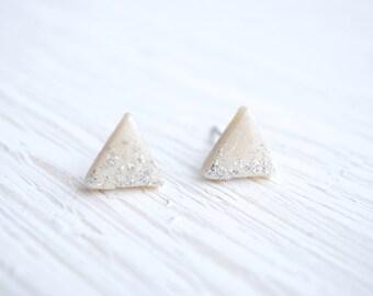 White and Silver Glitter Geometric Triangle Stud Earrings