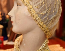 Antique 1920's Hand Tatted Lace Boudoir Hat