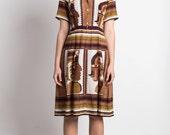 Vintage Dress Japanese S// 70s Dress// Mayan Polaroid Dress// Aztec Summer Brown Linen Japan