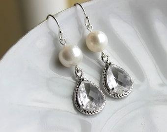 Freshwater Pearl Crystal Earrings Silver Two Tiered Clear Pearl Bridesmaid Earrings Bridal Earrings - Bridesmaid Jewelry - Wedding Earrings