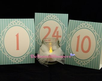 Retro Table Numbers 1 through 24 - Weddings, Banquets, Events