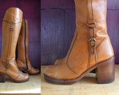 THE WILD PAIR Sz 5B Vintage Brown Tall Leather Zip Up Campus Boots Women