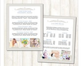 8.5x11 Pricing Sheet Template, PSD Photoshop Template, Business Form, Damask (MF217) INSTANT DOWNLOAD