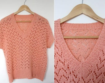 Vintage 1980s Peach Knitted Short Sleeve Sweater Size 12 UK, 8 US, 40 EU