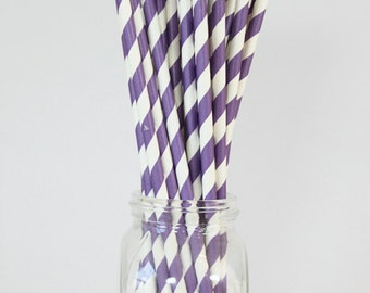Purple Stripe Straws Purple Party Supplies Girls Birthday Party Bachelorette Party Colorful Paper Straws Violet Orchid Plum  / Set of 20