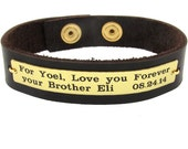 Personalized Leather Mens Bracelet - Adjustable Customized Wristband - Gift for Him - Mens Bracelets - Mens Gifts - Best friend Gift Idea