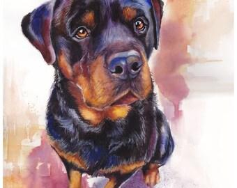 "8x10"" Rottweiler Watercolor Giclee Fine Art Print [Watercolor Pet Portrait, Rottweiler Art, Gift For Dog Lover, Dog Artwork, Dog Painting]"
