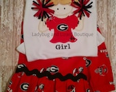 Bulldog Cheerleader Girl with Pom Poms and Ruffle Pants Outfit Sizes 12M-18M, 2T-5T, 6