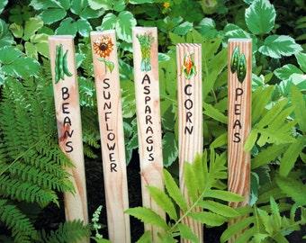 Spring Garden Marker Wooden Stakes- Set of 5