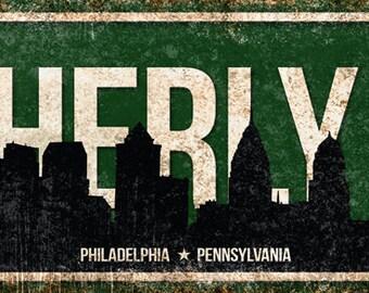 "City of Brotherly Love // Philadelphia, Pennsylvania // Metal Sign // 5.5"" x 22"""