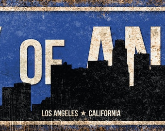 "City of Angels // Los Angeles, California // Metal Sign // 5.5"" x 22"""