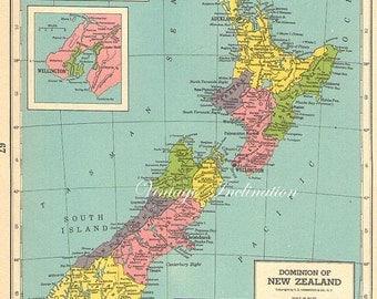 1940s Antique Vintage NEW ZEALAND original map 1940s colour map aqua ocean