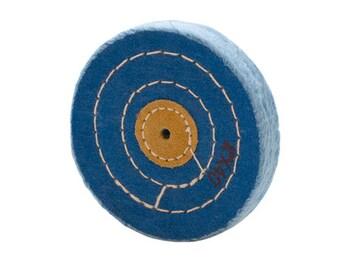 BLUE Polishing BUFF Leather Center, 3 Row Stitched, 4 X 40 PLY - Polishing Buff - Polishing and Jewelry Making Tool