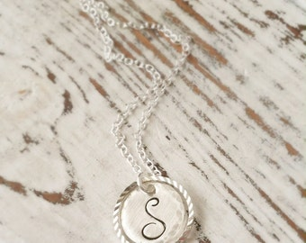 Initial Necklace . Mini Silver Floating Circle Initial Charm . Silver . Initial Charm . Stamped Initial . Personalized Jewelry