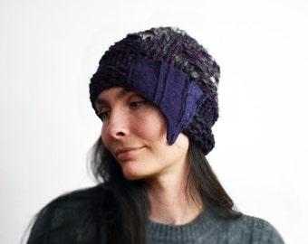 winter beanie, hat cloche Retro 1920 style, asymmetrical hand knitted womans dark violets small soft cap felt unique ooak modern fashion 104