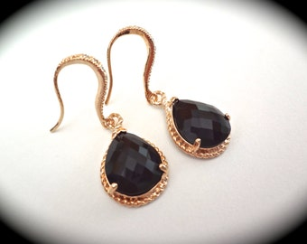 Black and gold earrings - Bridal jewelry - 14k Gold over Sterling Cubic Zirconia ear wires -  Formal earrings - Bridesmaids - High quality -