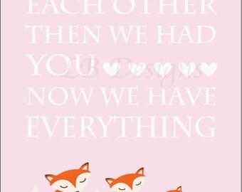 Girl Fox Nursery Print, Girl Woodland Nursery Decor, Pink and Orange Nursery, Pink Fox Print - 8x10