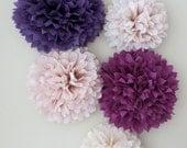 5 Pom Poms - Garden Romance Tissue Paper Pom Poms - Purple Poms - Paper Decorations - Wedding Decorations - Bridal Shower