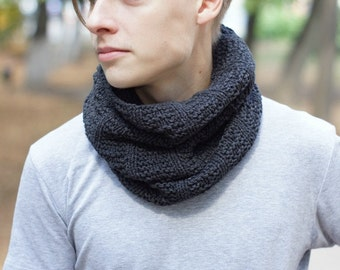 Hand knit Men's dark gray Scarf cowl for him winter