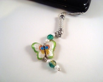 Green Butterfly Cloisonne Cellphone Charm CH002 cell phone charm
