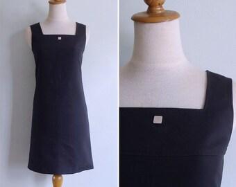 Vintage 90's Courreges Square Neck Little Black Dress XXS or XS