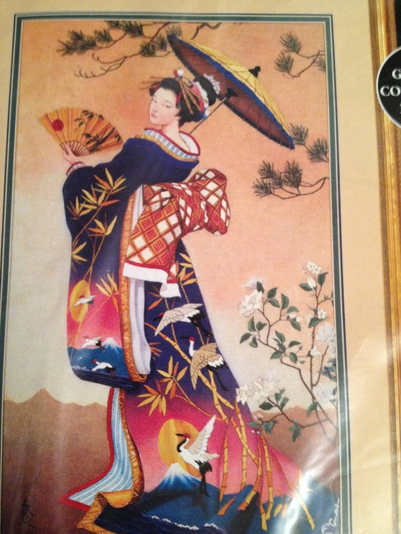 Geisha Girl Crewel Kit Dimesnions Beauty From The Orient By