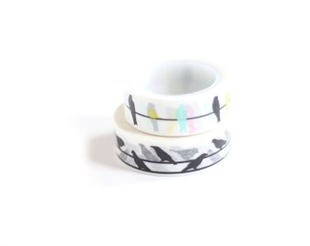 Washi Tape Two Rolls Set Birds on a Wire Colorful and Black and White Pattern Japanese Rice Paper Tape