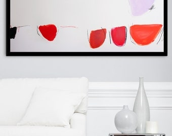 SALE Abstract Painting - Large painting 40X26 on paper. Minimalist painting. Red pink black. Modern painting