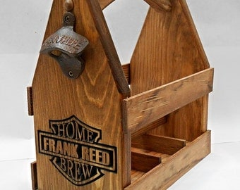 Beer Tote, Wood Beer Carrier, Six Pack Home Brew Caddy, Personalized groomsmen gift, Home Craft Brewing