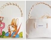 Large Personalized Peter Rabbit Easter Basket - Vintage Beatrix Potter Fabric - Boy Girl - Nursery Decor - NAUGHTY PETER 1 Handle