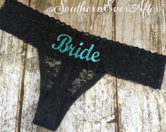 MONOGRAMMED BRIDAL THONG / Something Blue Lingerie / Honeymoon Shower / Bridal Shower / Black Lace