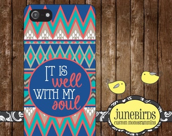 Personalized Iphone 4/4S and Iphone 5/5S Cell Phone Case - It Is Well With My Soul (Aztec)