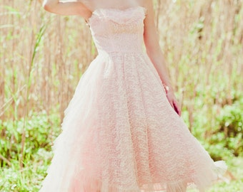 Vintage 1950s Pretty in Pink Lace Tulle Gown Dress