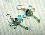 Dragonfly Earrings, Crystal Dragonfly Earrings, Green Dragonfly Earrings, Swarovski Earrings, Green Earrings, Dragonfly Jewelry, Dangle