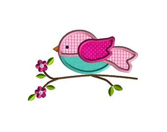 Bird on Branch Applique Machine Embroidery Design-INSTANT DOWNLOAD