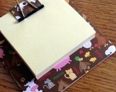 sticky note holder  mini-clip board,  magnetic memo holder- cute barnyard animals