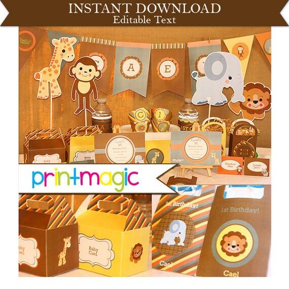 jungle animal printable party invitations amp by printmagic