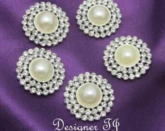 "Rhinestone and Pearl Buttons, Rhinestone Buttons, Pearl Buttons, Flat Back Buttons, silver metal - 26mm - 1"" (Christina)"