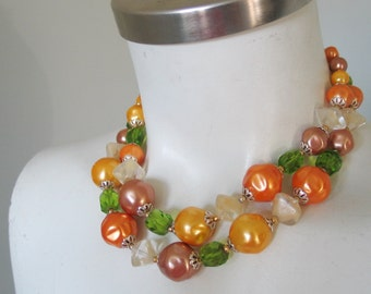 Vintage 1960s Orange Mocha Lime Autumn Beaded Necklace Choker